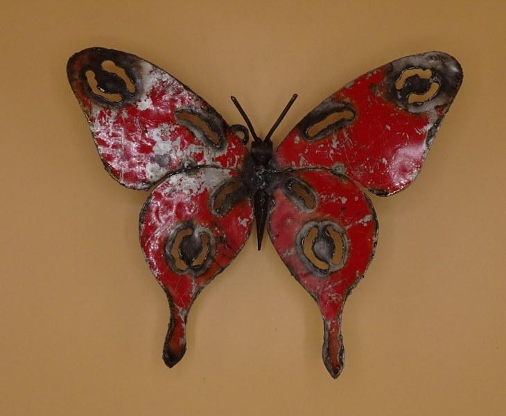 Eerlijk & Werelds tuindecoratie scrapmetal vlinder
