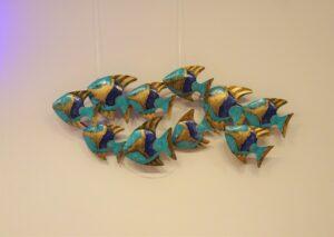 Eerlijk & Werelds wanddecoratie vissen blauw