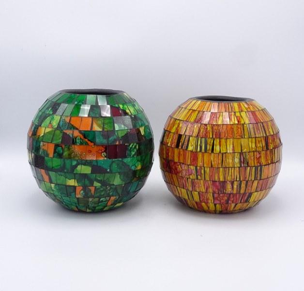 Eerlijk & Werelds vazen glas mozaïek